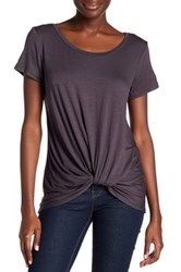 Abound Short Sleeve Knotted Tee Gray