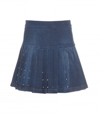 Mcq By Alexander Mcqueen Embellished Denim Skirt Blue