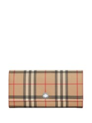 Burberry Vintage Check And Leather Continental Wallet Silver