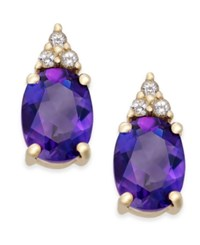 Macy's Amethyst 2 1 5 Ct. T.W. And White Topaz 1 5 Ct. T.W. Stud Earrings In 10K Gold Yellow Gold