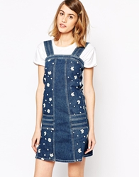 See By Chloe Denim Pinafore With Embroidered Flowers Blue