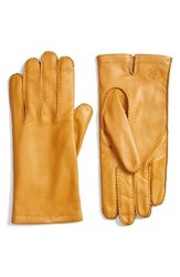 Hickey Freeman Men's Basic Contrast Leather Gloves Old Gold
