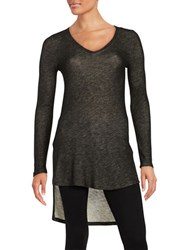 Splendid Hi Lo Thermal Tunic Top Black