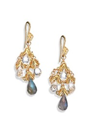 Anthony Camargo 14K Yellow Gold Labradorite And White Topaz Chandelier Earrings