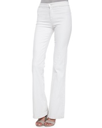 J Brand Jeans Tailored High Rise Flare Jeans Blanc