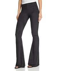 Show Me Your Mumu Bam Bam Bell Bottom Pants Black Stretch Suede