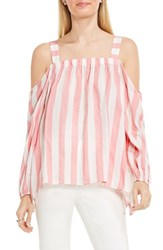 Vince Camuto Women's Stripe Cold Shoulder Blouse Rossetto