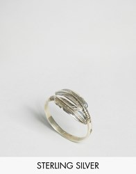 Reclaimed Vintage Sterling Silver Feather Ring Silver