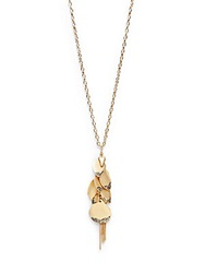 Saks Fifth Avenue Leaf And Chain Fringe Drop Necklace Gold