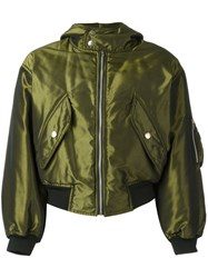 Jean Paul Gaultier Vintage Shiny Hooded Bomber Jacket Green