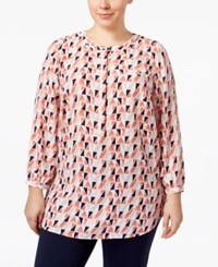 Jm Collection Plus Size Printed Pleated Top Only At Macy's Coral Shell Combo