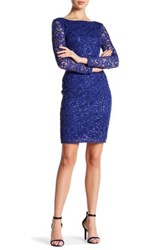 Marina Long Sleeve Lace Sequin Dress Blue