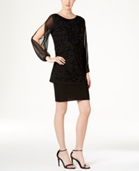 R And M Richards Embellished Popover Dress Black