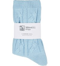 Johnstons Cable Knit Cashmere Socks Satin