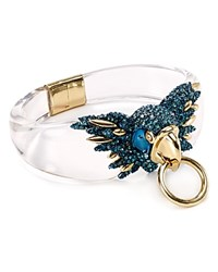 Alexis Bittar Lucite Feathered Parrot Hinge Bangle Clear
