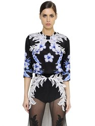 Francesco Scognamiglio Embellished And Printed Silk Habotai Top