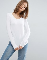 Asos T Shirt With Long Sleeve And Scoop Neck White