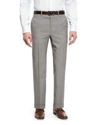 Brioni Tropical Tic Flat Front Trousers Light Gray