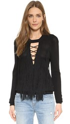 Torn By Ronny Kobo Selma Open Stitch Sweater Black