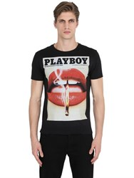 Playboy Lips Printed Cotton Jersey T Shirt