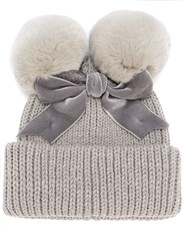 Ca4la Pom Pom Ribbon Beanie Hat Grey
