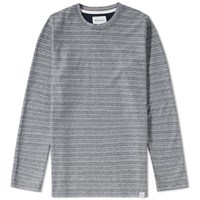 Norse Projects Long Sleeve Niels Textured Stripe Tee Blue