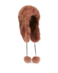 Pologeorgis Fox Fur Trapper Hat Brown