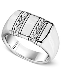 Macy's Men's Sterling Silver Ring Braided Band