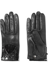 Causse Gantier Patent Leather Trimmed Fringed Leather Gloves Black