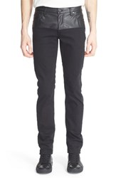 Versace Men's Jeans 'Marty' Slim Fit Jeans With Faux Leather Inset