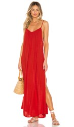 Indah Yasmine Solid Gathered Neckline Maxi Sundress In Red. Fire