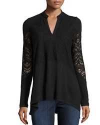 Xcvi Nia Crochet High Low Tunic Black