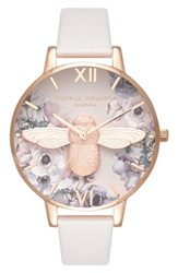 Olivia Burton Watercolor Floral Leather Strap Watch 38Mm Blush Bee Rose Gold