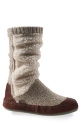Acorn Women's Slouch Slipper Boot Buff Popcorn Fabric