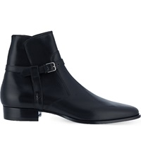 Saint Laurent Seville High Strap Ankle Boots Black