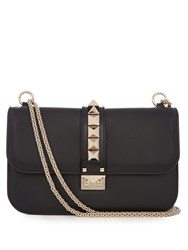 Valentino Lock Medium Leather Shoulder Bag Black
