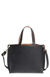 Street Level Junior Women's Reversible Faux Leather Tote Black Black Natural