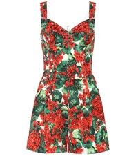 Dolce And Gabbana Floral Jacquard Playsuit Red