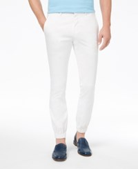Tallia Orange Men's Modern Fit Stretch White Solid Jogger Dress Pants