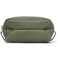 Valextra Small Pebble Grain Leather Wash Bag Army Green