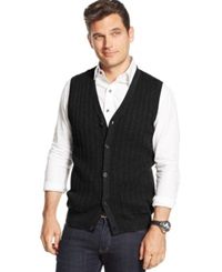 Tasso Elba Mini Cable Knit Vest Only At Macy's Deep Black