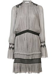 Vionnet Pleated Short Dress Women Silk 40 Grey