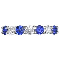 Ewa 18Ct White Gold Brilliant Cut Sapphire And Diamond Half Eternity Ring