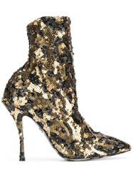 Dolce And Gabbana Sequin Ankle Boots Gold