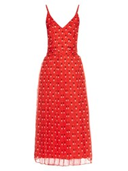 Christopher Kane Love Heart Print Silk Chiffon Dress Red Print