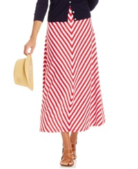 American Living V Striped Maxi Skirt Classic Red White