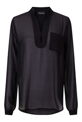 James Lakeland Long Sleeve Pockets Blouse Black