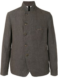 Forme D'expression Slashed Mess Jacket Men Cotton Linen Flax Ramie Polyamide 50 Brown