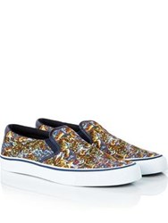 Kenzo Velvet Canvas Flying Tiger Original Slip On Trainers Multi