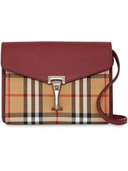 Burberry Mini Leather And Vintage Check Crossbody Bag Red